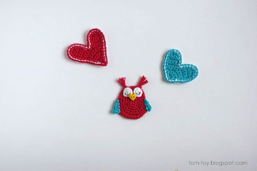 owl crochet applique, heart applique, handmade