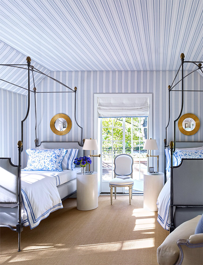 Breathtaking blue and white bedroom by Bruce Budd featured in Architectural Digest October 2015