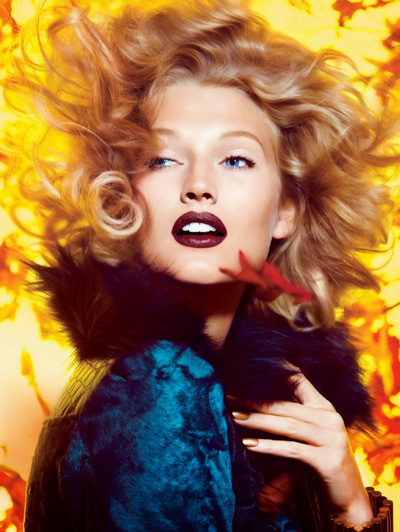 Toni Garrn Falls lipstick for Allure Magazine