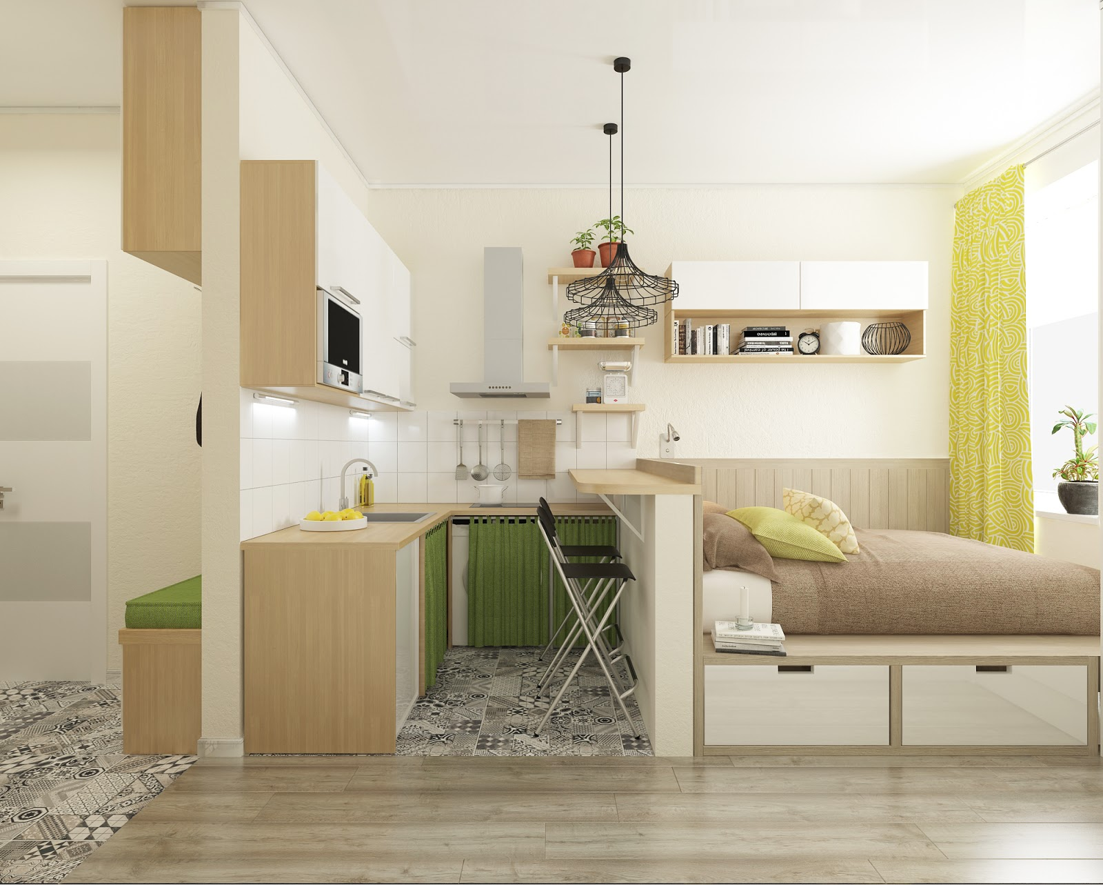 Дизайн квартиры-студии 18 кв.м