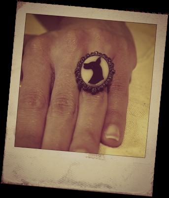 anillo silueta perro · dog silhouette ring
