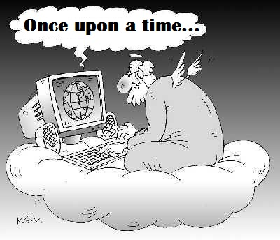 God writes the Bible - Once upon a time