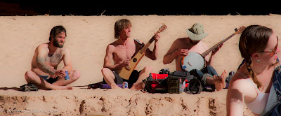 Austin Nickle, Jed Policky, Ryan Cole, Joselin Reeves jamming out at Redwall Cavern, grand Canyon of the Colorado, Chris Baer