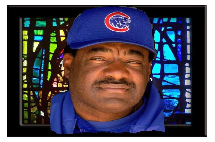 Don Baylor in a cubs uniform in stained glass windows