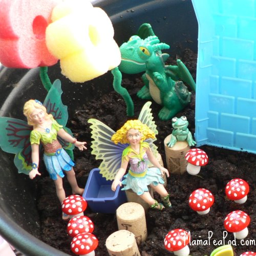 imaginary play making fairy garden fairies dragon mushrooms