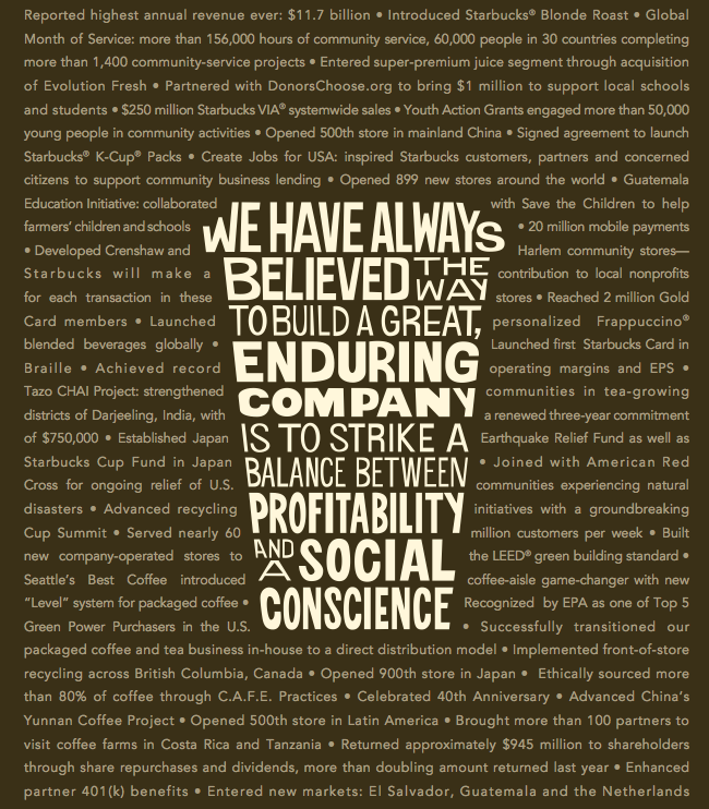 starbucks mission Our starbucks mission statement here are the principles of how we live that every day: our coffee it has always been, and will always be, about quality.