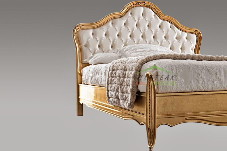 Armonie Gold Leaf Bed with Hand Carvings