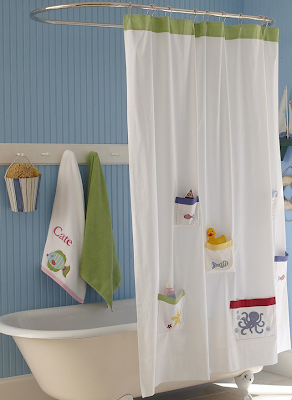 shower curtain with ocean theme - and pockets