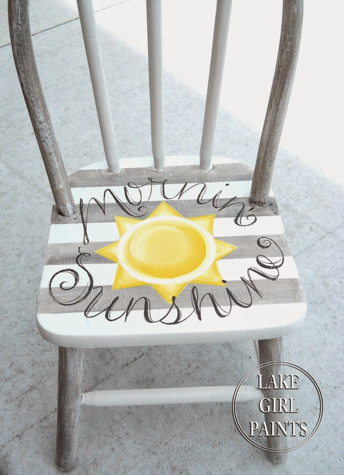Lake girl paints gray white and yellow children 39 s chair for Painted kitchen chairs