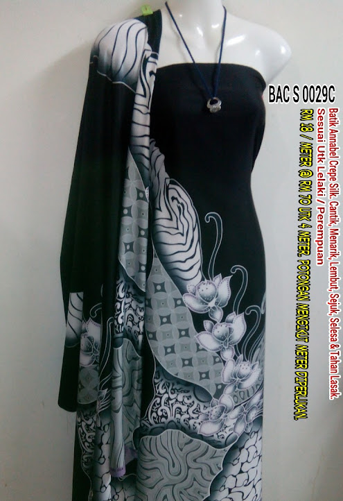 BAC S 0029C:  BATIK ANNABEL CREPE SILK,  CANTIK, MENARIK, LEMBUT, SEJUK, SELESA, TAHAN LASAK