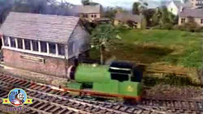The man in the railway signal box saw that Percy the tank engine was a run away train and in trouble