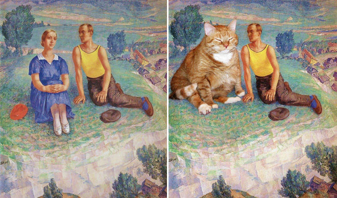 famous paintings fat cat parody