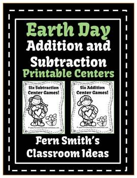 Earth Day - Addition and Subtraction Printable Center Games For 1.OA.6 and 2.OA.2