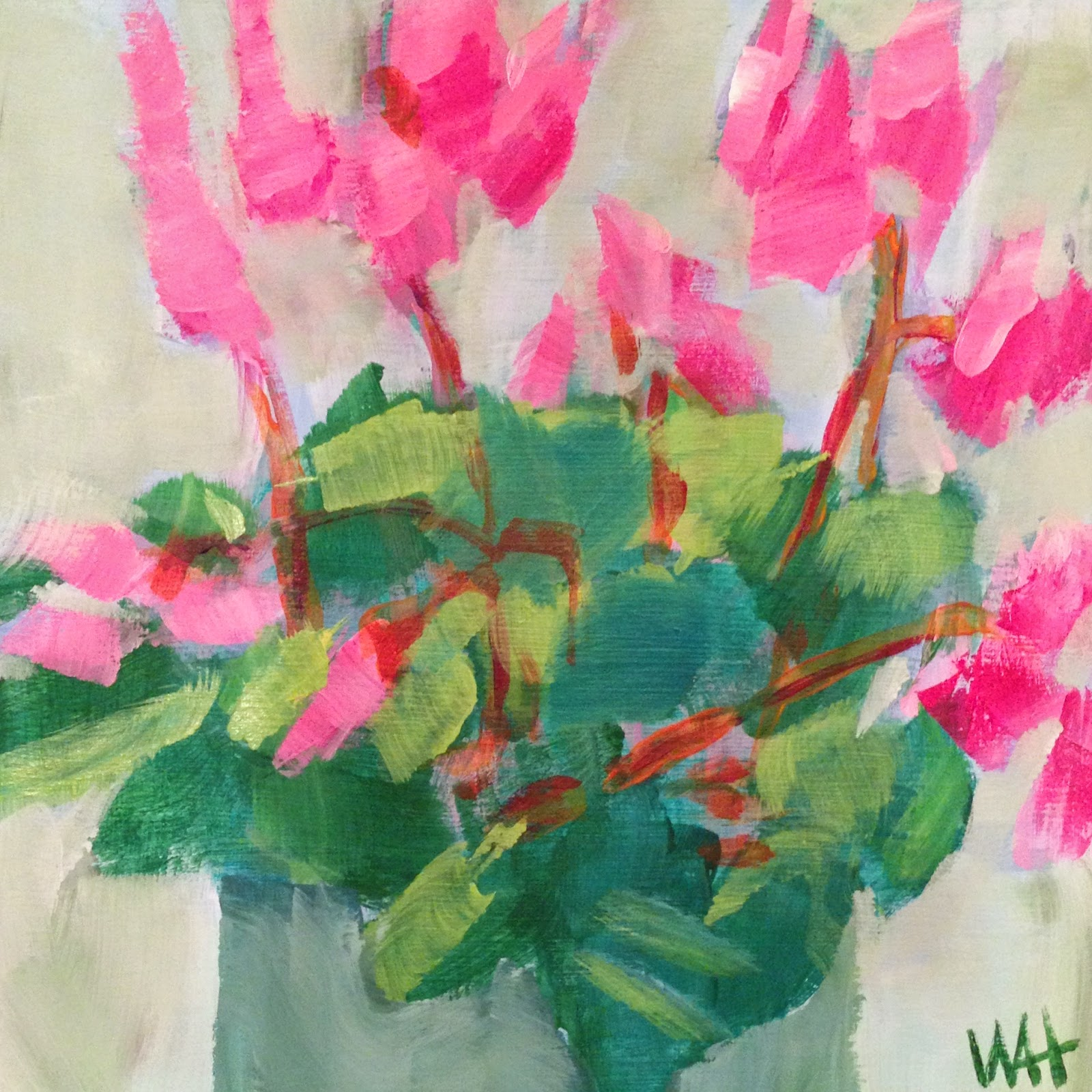 Daily Painting by Whitney Heavey pink flowers