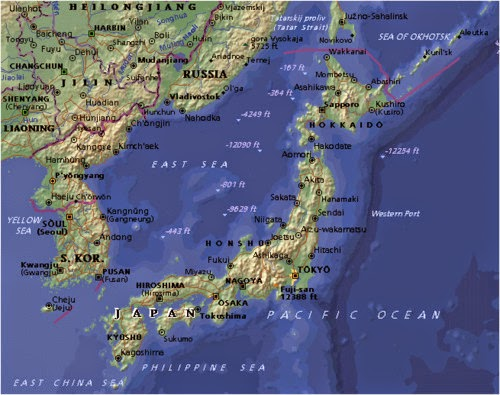 Political physical map of Japan and Korea