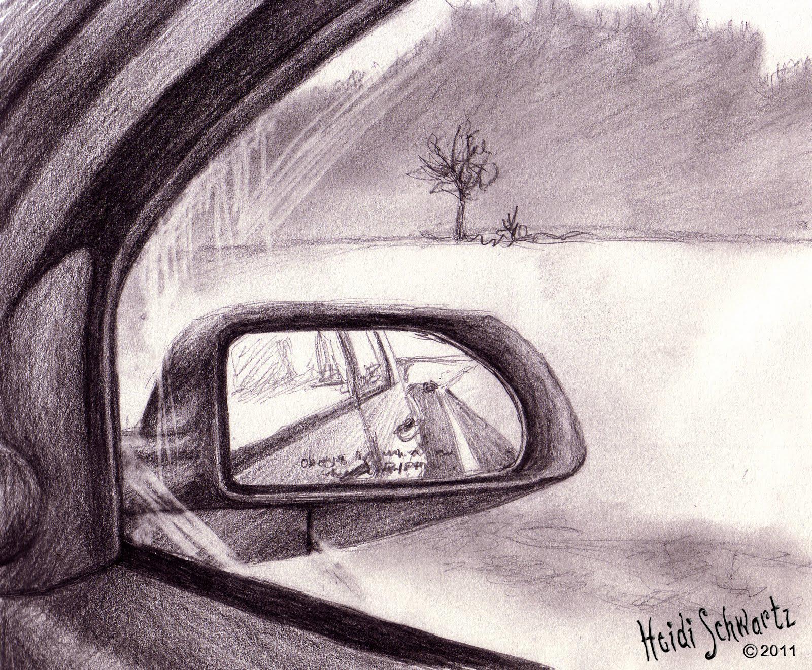 Heidi Schwartz Road Trip Sketches Hands Trees Trucks Mirrors