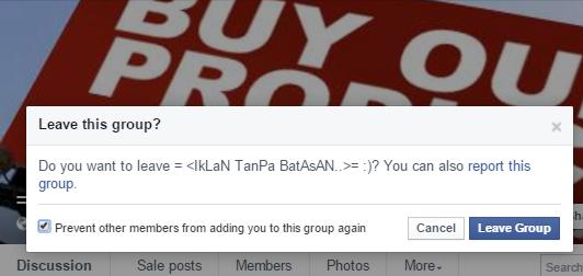 Leave Group Facebook Semak & Sesak Artikel Lucah Melampau!