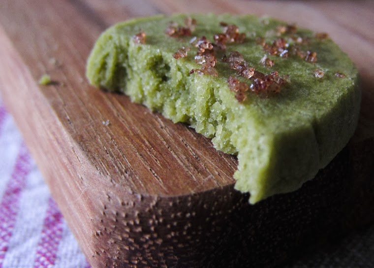 ... close-up cross-section shot of the green tea matcha shortbread cookie