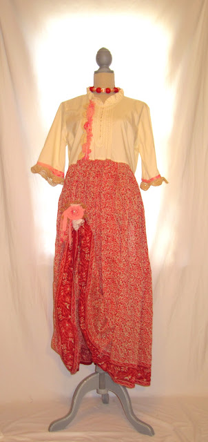 Boho Funky Babydoll Long Dress, Country Chic Bohemian Styles and Pink Off-White Color Tones