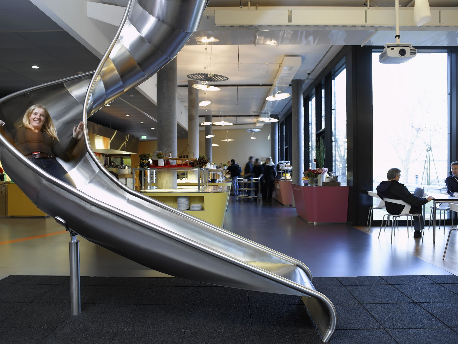 google office slides. They Have Massage Chairs, Slides, Pool Tables And Other Games, Private Cabins Much More. These Photos Are From Google Office In Zurich. Slides