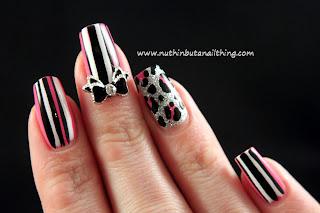 stripe leopard print nail art