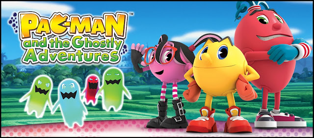 Promo art for Pac-Man and the Ghostly Adventures video game with main characters standing next to logo