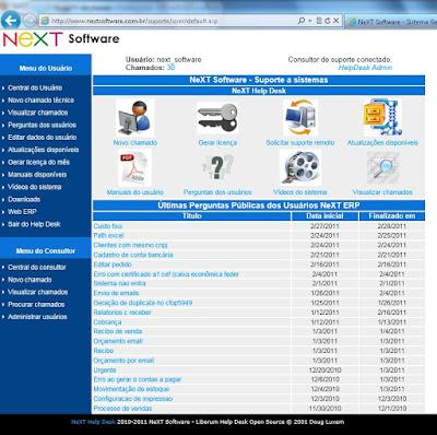 NeXT Software Novo Help Desk suporte automatizado
