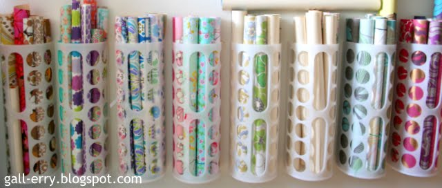 Ikea grocery bag holder - hacked into a gift wrap organizer :: OrganizingMadeFun.com