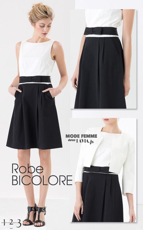 Robe bicolore noire et blanche en ottoman