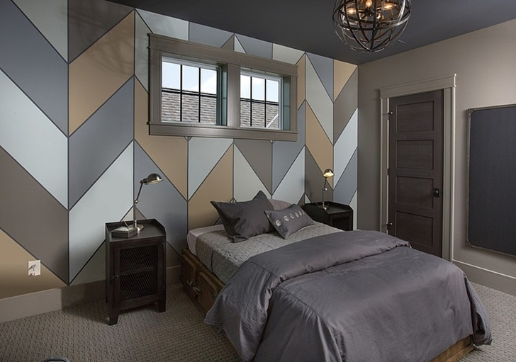Dark bedroom in Craftsman style home in Dublin, Ohio