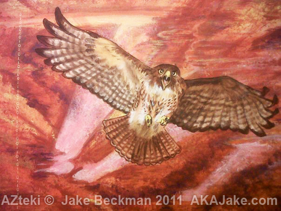 AZteki by Arizona bird artist Jake Beckman Red tail hawk soars above abstract background