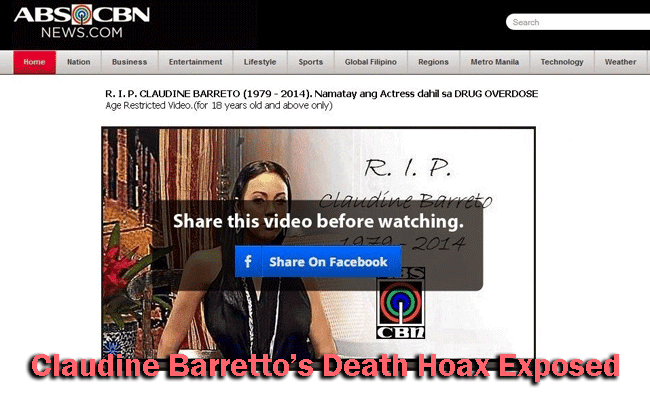 Claudine Barretto's Death Hoax Exposed