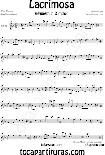 Partitura Fácil  de Lacrimosa para Oboe by Sheet Music for Oboe Partitura Requiem by Mozart Music Scores