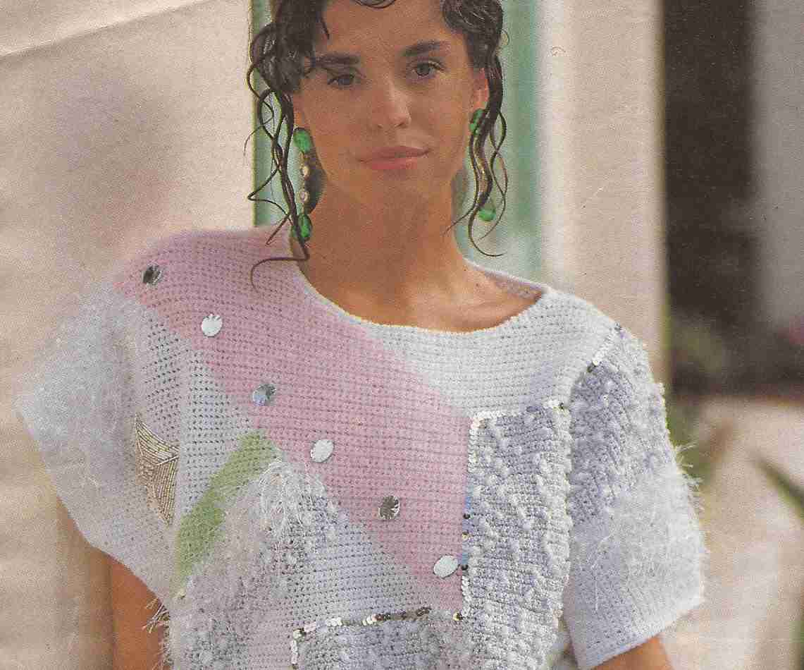 Jersey con áreas geométricas a Crochet