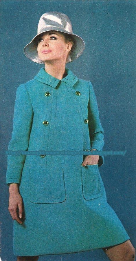 Blue wool dress coat - Maria Carine pour Jacques Heim 1967 60s 1960