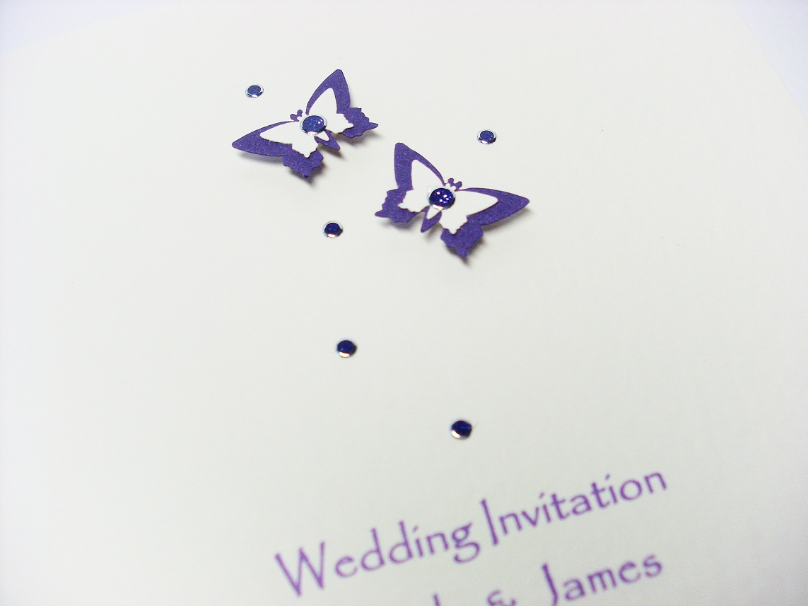 Stunning Purple Butterfly Wedding Invitations Photos - Styles ...