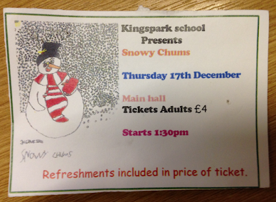 Ticket to Kingspark School 'Snowy Chums' Christmas Show 17 December 2015