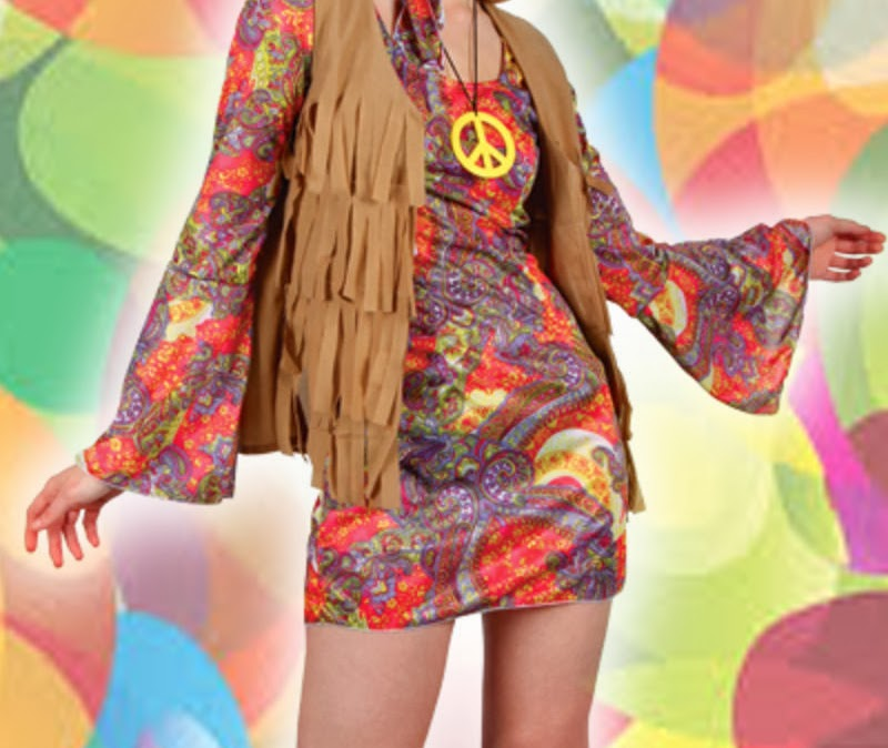 colorful composite photo image of the mid-body of a Psychedelically dressed hippie