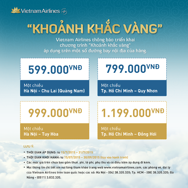 """Chương trình """"Khoảnh khắc vàng"""" được Vietnam Airlines mở bán vé máy bay nội địa chỉ từ 599.000 đồng"""