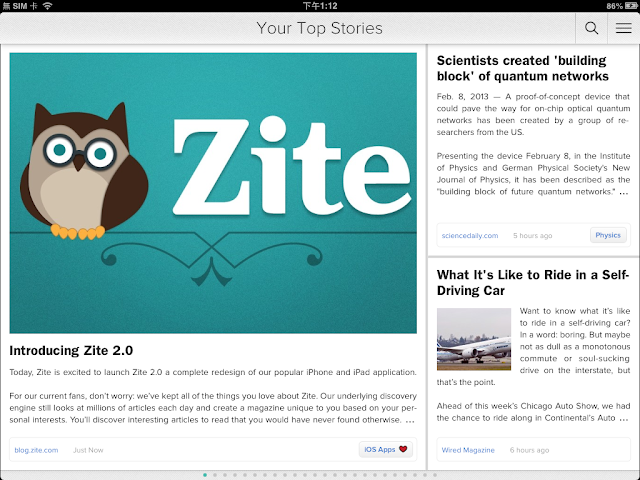 Zite News Reader