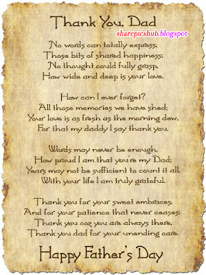 Thank you dad poem for father s day special 2013 father s day poems in