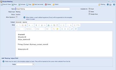 Beispiel für ein E-Mail-Template in Workbooks