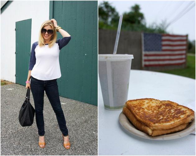 baseball tee, jeans, ecco owen sandals, ecco hobo bag