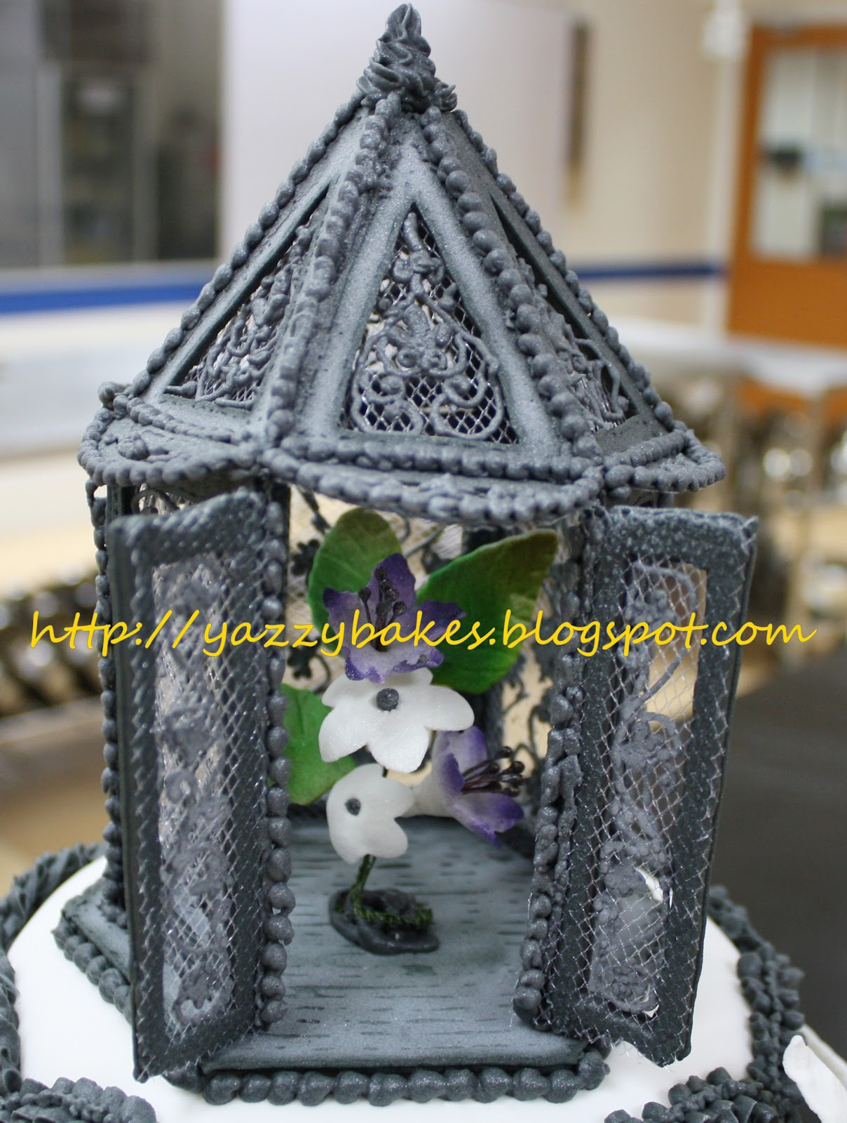 Yazzy Bakes Black White & Purple Wedding Cake Between