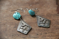 Turquoise Stone and Silver Metal Pendant Earrings by hotGlued