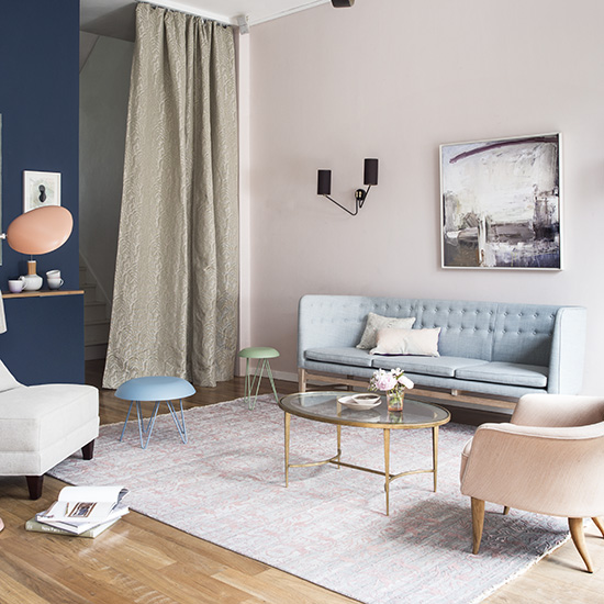 rose quartz and serenity living room