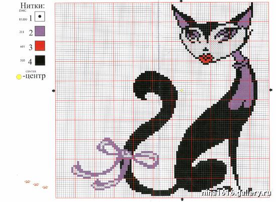 Схема вышивки кошки крестиком 11