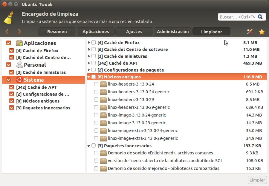 Ubuntu Tweak Limpiador