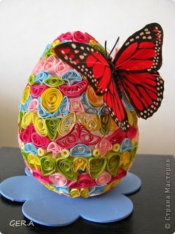 A butterfly on an Easter egg