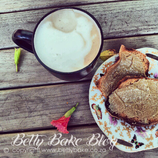 sunflower seed butter on toast, coffee